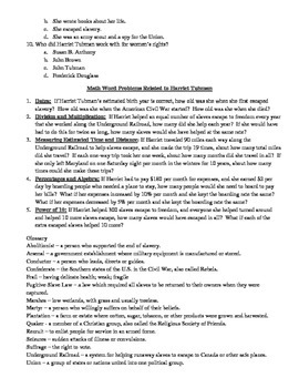 Explore Harriet Tubman quick text, comprehension questions, math word problems