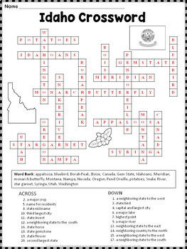 Idaho Crossword Puzzle