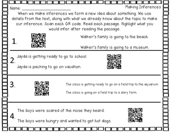 Explore Making Inferences with QR Codes