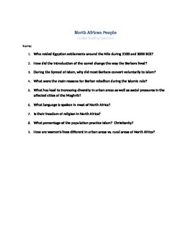 Explore North Africa Guided Questions and Answers
