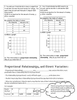 Direct Variation and Constant of Proportionality