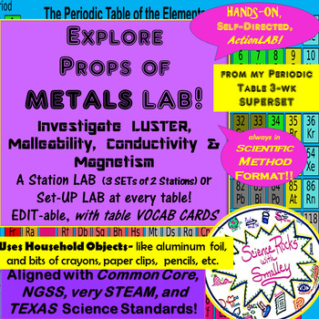 Explore Props of METALS LAB! Luster, Malleability, Conductivity & Magnetism
