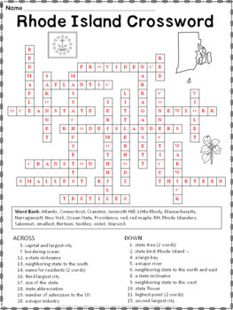 Rhode Island Crossword Puzzle