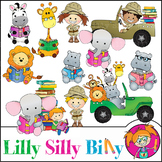Explore. Safari Clipart. BLACK AND WHITE & Color Bundle. {Lilly Silly Billy}