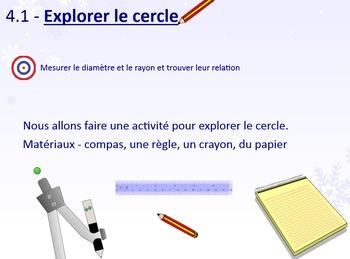 Explore le cercle (la circonférence, le rayon, le diamètre)