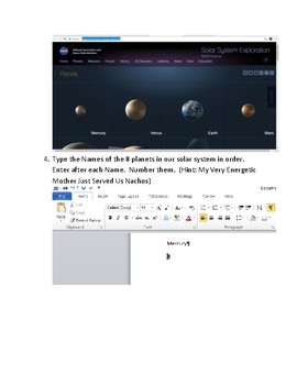 Explore the Planets using Microsoft Word Technology Lesson
