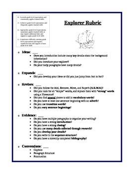 Explorer Biographical Sketch Rubric