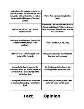 Explorer Fact/Opinion Cards