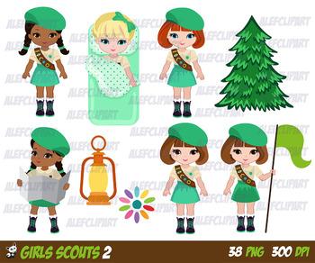 Explorer Girls, Scout Girl, Clip art Camping Digital Kids, Brown Sashes