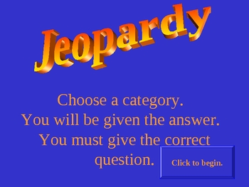Explorer Jeopardy Game