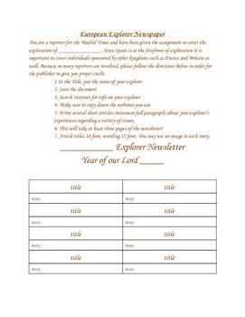 Explorer Newspaper Project
