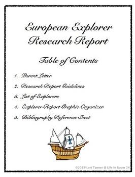 Explorer Research Report {Graphic Organizer}
