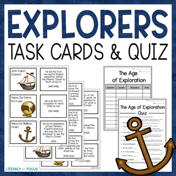 European Explorer Task Cards and Assessment- Columbus, Mag
