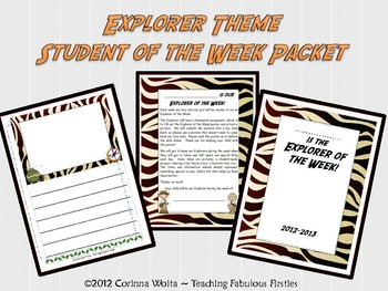 Explorer Themed Student of the Week Packet