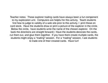 Social Studies Explorer Trading Cards