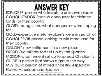 Explorer Vocabulary Match Up