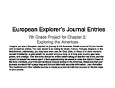 Explorer's Journals - Middle School SS Project Exploring the Americas - CH 2
