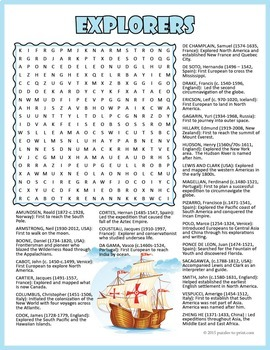 Famous Explorers Word Search Puzzle