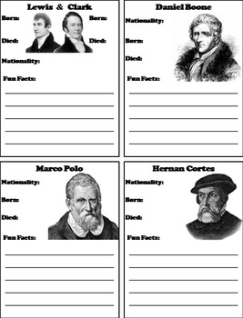 Famous World Explorers Unit: Daniel Boone, Marco Polo, Lewis and Clark, etc.