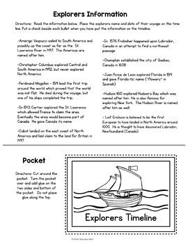 Explorers Timeline, Pocket and Worksheet