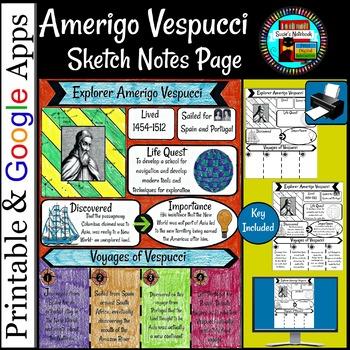 Explorers Age of Exploration Amerigo Vespucci Sketch Notes Page