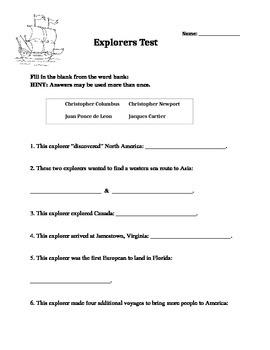 Explorers Assessments