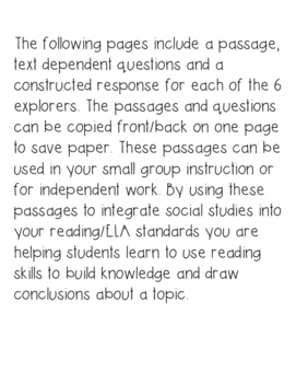 Explorers Bundle Passages Text Dependent Questions and Responses