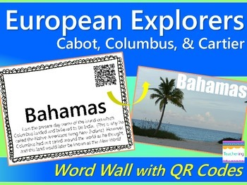 Explorers Word Wall with QR codes {Cabot, Cartier, Columbus}