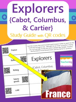 Explorers {Cabot, Columbus, & Cartier} Study Guide with QR Codes