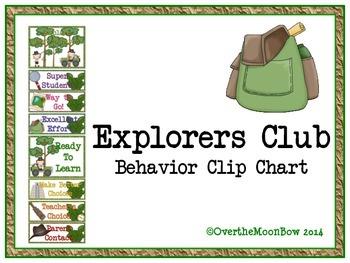 Explorers Club Themed Behavior Clip Chart