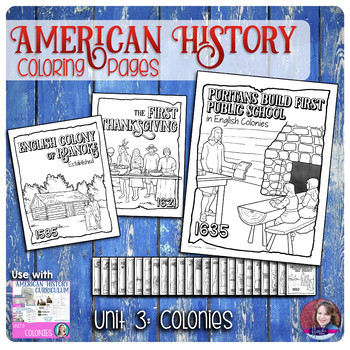 Colonies Coloring Activities - US History