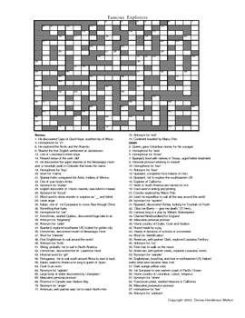 Explorers Crossword Puzzle by Donna Melton | Teachers Pay ...
