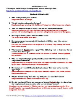 Explorers: Death of Magellan Primary Source Worksheet