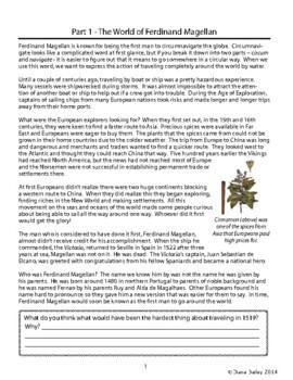 Explorer Ferdinand Magellan Biography Informational Texts Activities
