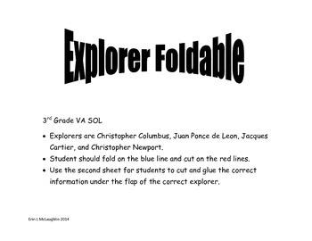 Explorers Foldable (3rd grade VA SOL)