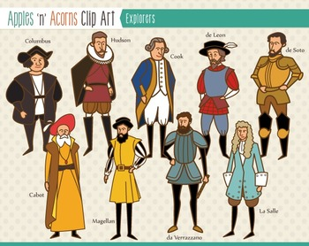 Explorers History Clip Art - color and outlines