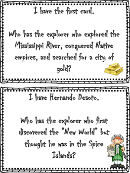 Explorers: I have, Who has Game