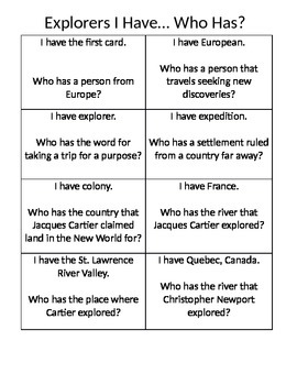 "Explorers ""I have, Who has"" game"