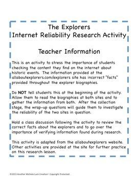 Explorers Internet Reliability Research Activity