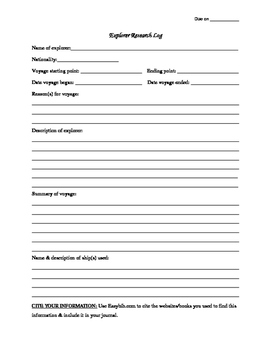 Explorers Journal Project