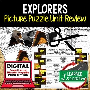 Explorers Picture Puzzle Unit Review, Study Guide, Test Prep
