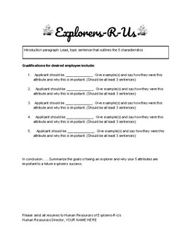 Explorers Project Template and Rubric