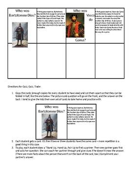 Explorers Quiz Quiz Trade Game and Explorers Test
