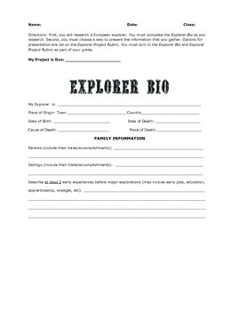 Age of Exploration - Explorers Research Lesson