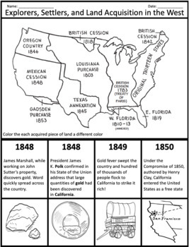 Explorers, Settlers, and Land Acquisition in West, 1800-1850