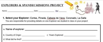 Explorers & Spanish Missions project
