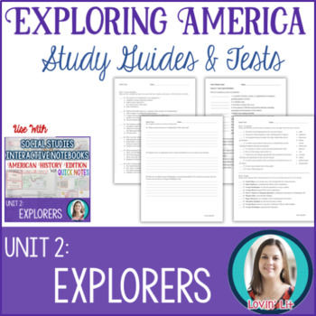 Explorers Study Guides and Tests EDITABLE