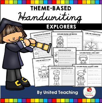 Explorers Theme Based Handwriting Lessons (Cursive Edition)