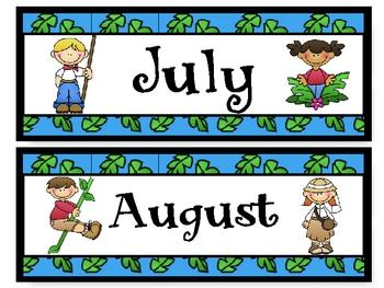 Explorers Theme Calendar Months