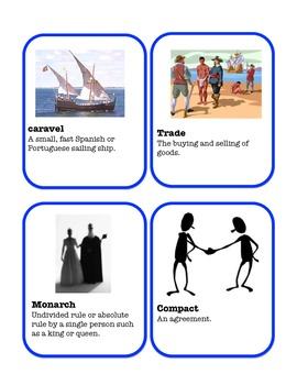 Explorers Vocabulary / Word Wall Cards